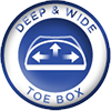 Deep & Wide Toe Box for wide fit shoes